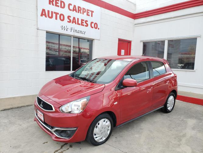 2018 RED Mitsubishi Mirage ES 5M (ML32A3HJ3JH) with an 1.2L L3 DOHC engine, 5M transmission, located at 503 West Court, Seguin, TX, 78155, (830) 379-3373, 29.568621, -97.969803 - Photo #0